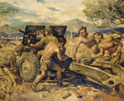 25-pounder in Italy – Peter McIntyre – 1943-1945 – Archives New Zealand/Te Rua Mahara o te Käwanatanga – Wellington Office – AAAC 898 NCWA 299