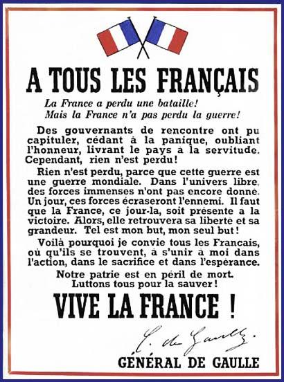 Affiche diffusée à Londres et en France en juillet 1940 - © Mémorial Leclerc - Musée Jean Moulin