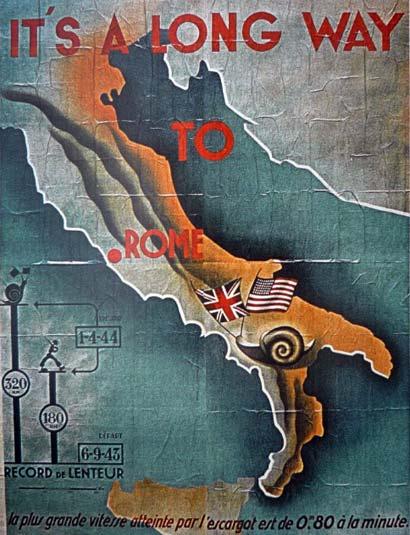 Affiche de propagande allemande caricaturant la lenteur de la progression des alliés