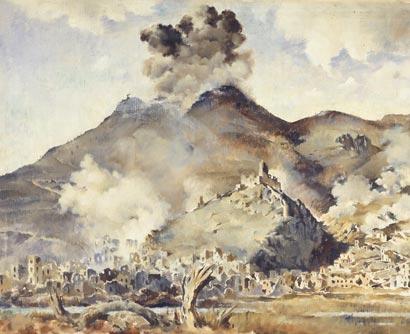 Bombing of Cassino Monastery and town – Peter McIntyre – May 1944 – Archives New Zealand/Te Rua Mahara o te Käwanatanga – Wellington Office – AAAC 898 NCWA 13