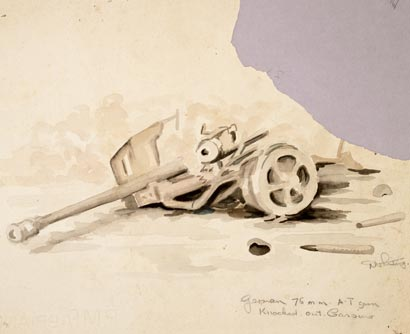 German 75 mm anti-tank gun knocked out, Cassino – D'Arcy Whiting- 1944 – Archives New Zealand/Te Rua Mahara o te Käwanatanga – Wellington Office – AAAC 898 NCWA W598
