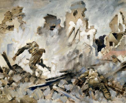 Into Cassino – Peter McIntyre – May 1944 – Archives New Zealand/Te Rua Mahara o te Käwanatanga – Wellington Office – AAAC 898 NCWA 17