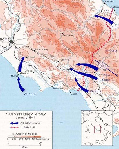 Stratégie des alliés en Italie en Janvier 1944
